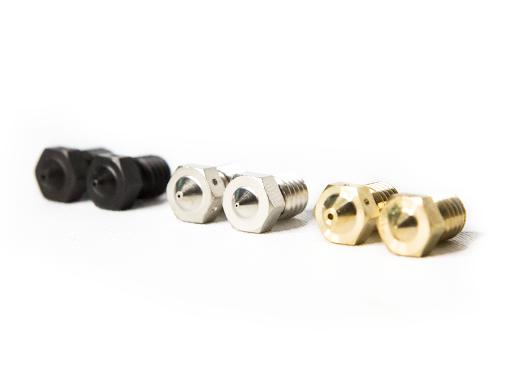 Dysze do drukarek 3D są wykonane z mosiądzu, stali nierdzewnej i stali hartowanej