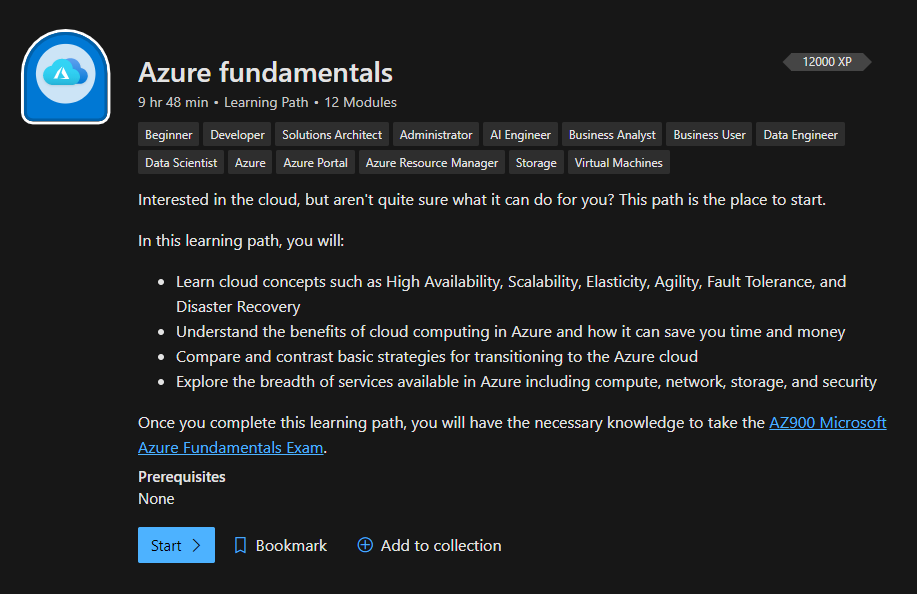 Microsoft Azure Fundamentals Learning path