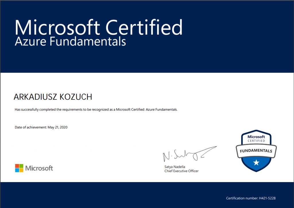 Microsoft Certified Azure Fundamentals certificate