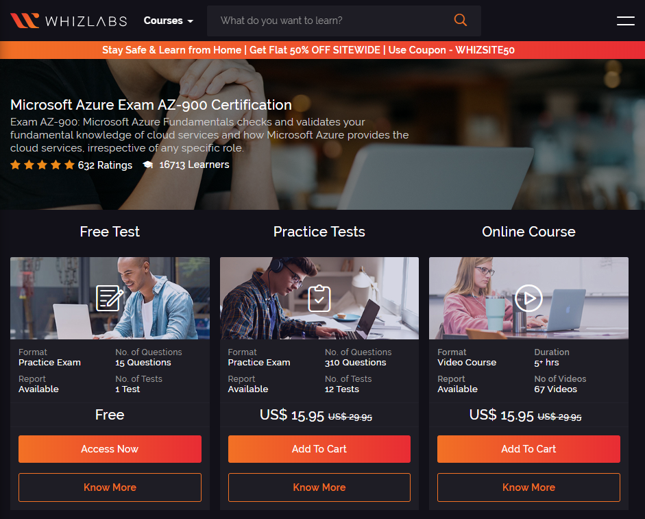 WhizLabs is also a great place to prepare for Azure Fundamentals Exam